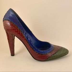 VTG Sergio Rossi Colorful Snakeskin Pointed Pumps